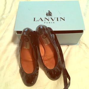 Lanvin black patent leather flats